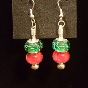 Red and green bead earring.
